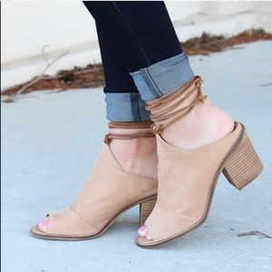 Chinese Laundry Cali Mule Lace Up Leather Heel